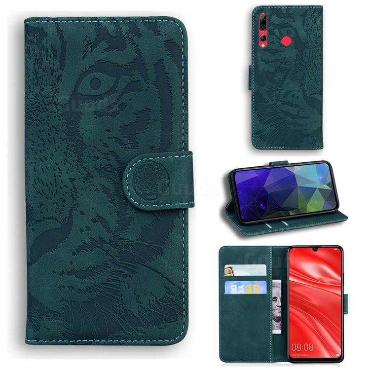 Intricate Embossing Tiger Face Leather Wallet Case for Huawei P Smart+ (2019) - Green