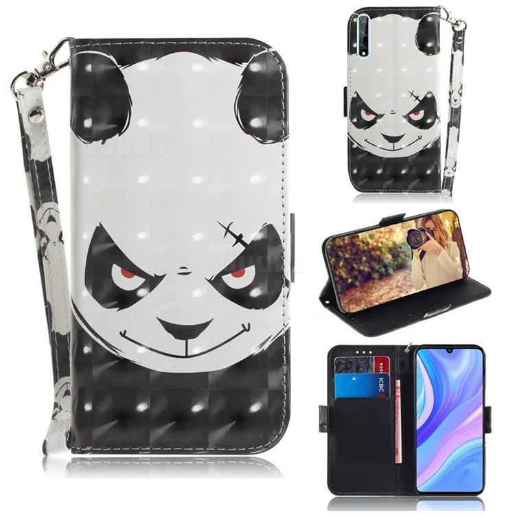 Angry Bear 3D Painted Leather Wallet Phone Case for Huawei P Smart S (2020)