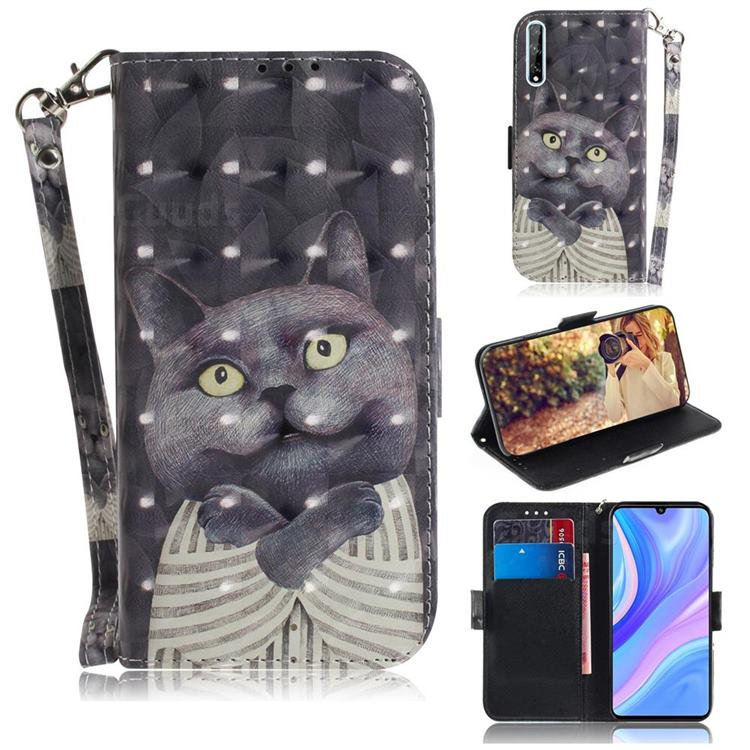 Cat Embrace 3D Painted Leather Wallet Phone Case for Huawei P Smart S (2020)
