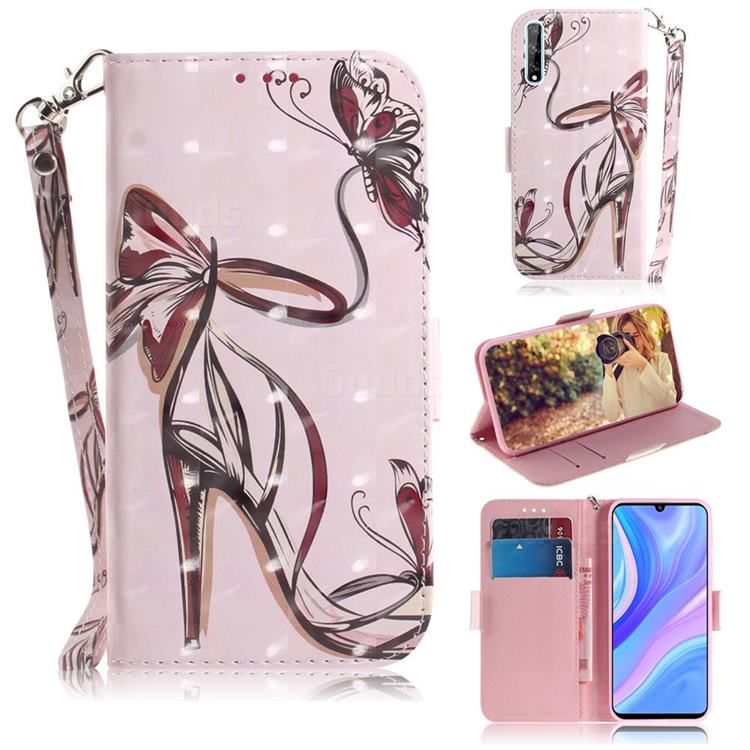 Butterfly High Heels 3D Painted Leather Wallet Phone Case for Huawei P Smart S (2020)