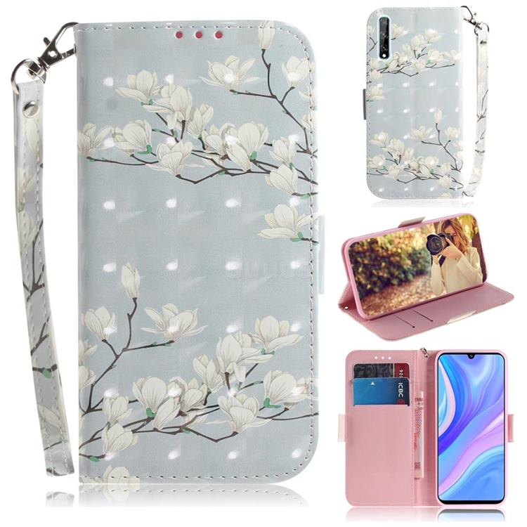 Magnolia Flower 3D Painted Leather Wallet Phone Case for Huawei P Smart S (2020)