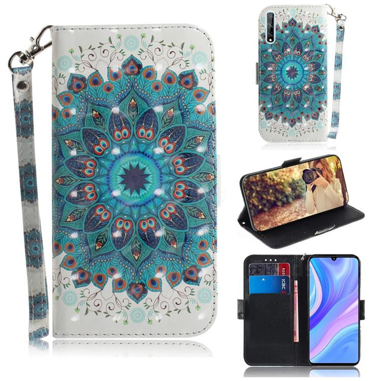 Peacock Mandala 3D Painted Leather Wallet Phone Case for Huawei P Smart S (2020)
