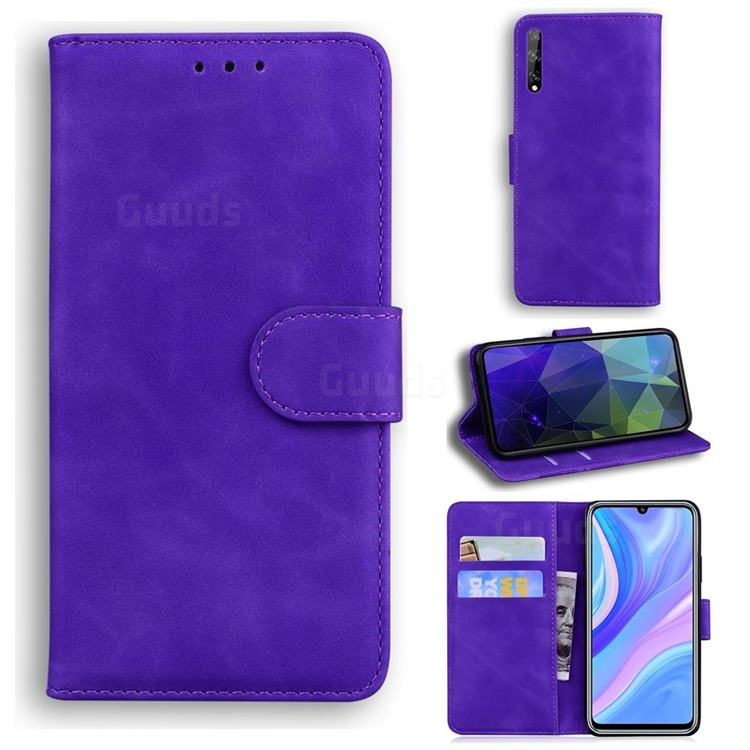 Retro Classic Skin Feel Leather Wallet Phone Case for Huawei P Smart S (2020) - Purple
