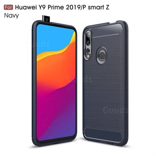 Luxury Carbon Fiber Brushed Wire Drawing Silicone TPU Back Cover for Huawei P Smart Z (2019) - Navy