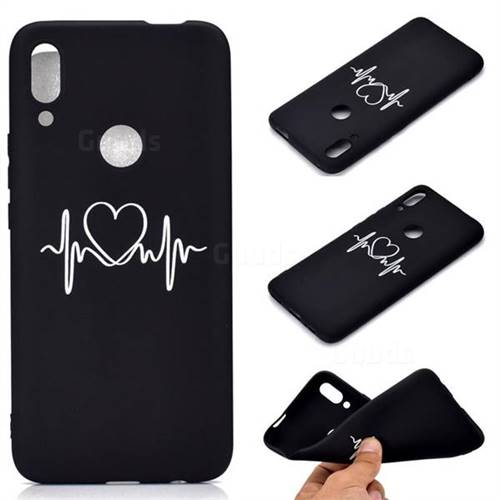Heart Radio Wave Chalk Drawing Matte Black TPU Phone Cover for Huawei P Smart Z (2019)