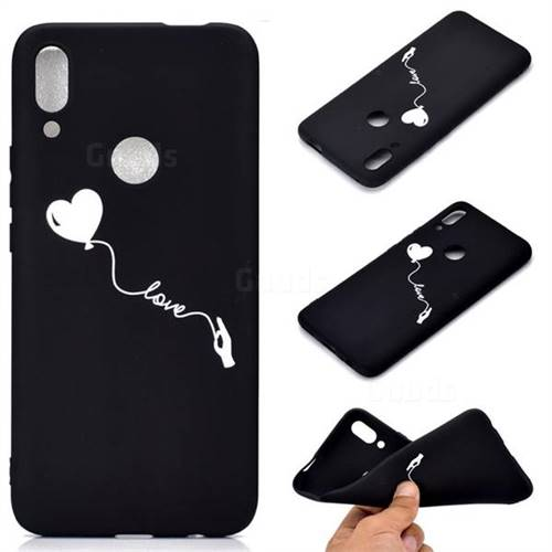 Heart Balloon Chalk Drawing Matte Black TPU Phone Cover for Huawei P Smart Z (2019)