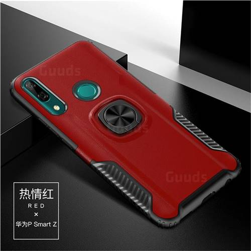 Knight Armor Anti Drop PC + Silicone Invisible Ring Holder Phone Cover for Huawei P Smart Z (2019) - Red