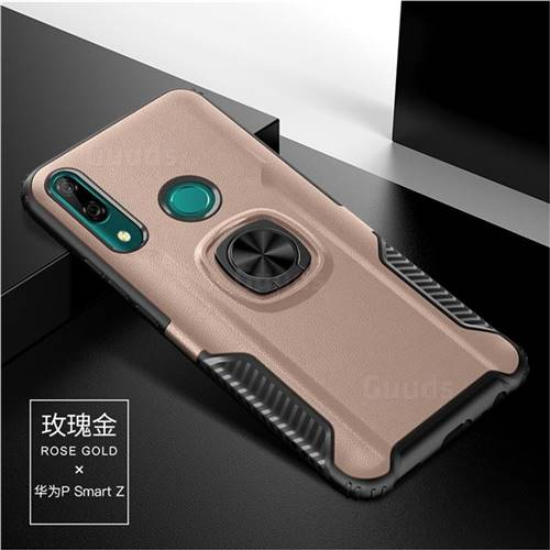 Knight Armor Anti Drop PC + Silicone Invisible Ring Holder Phone Cover for Huawei P Smart Z (2019) - Rose Gold