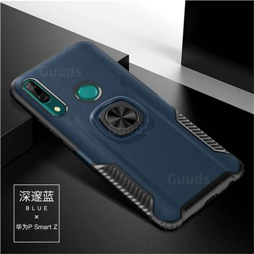 Knight Armor Anti Drop PC + Silicone Invisible Ring Holder Phone Cover for Huawei P Smart Z (2019) - Sapphire