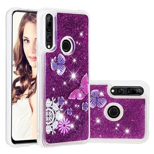 Purple Flower Butterfly Dynamic Liquid Glitter Quicksand Soft TPU Case for Huawei P Smart Z (2019)