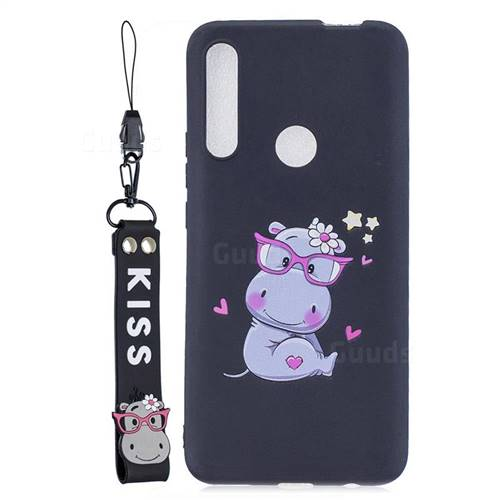 Black Flower Hippo Soft Kiss Candy Hand Strap Silicone Case for Huawei P Smart Z (2019)