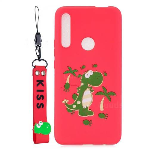Red Dinosaur Soft Kiss Candy Hand Strap Silicone Case for Huawei P Smart Z (2019)