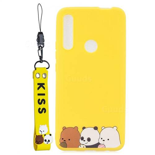 Yellow Bear Family Soft Kiss Candy Hand Strap Silicone Case for Huawei P Smart Z (2019)