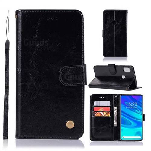 Luxury Retro Leather Wallet Case for Huawei P Smart Z (2019) - Black