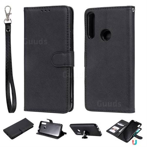 Retro Greek Detachable Magnetic PU Leather Wallet Phone Case for Huawei P Smart Z (2019) - Black