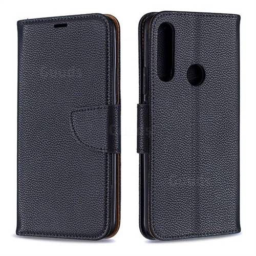 Classic Luxury Litchi Leather Phone Wallet Case for Huawei P Smart Z (2019) - Black