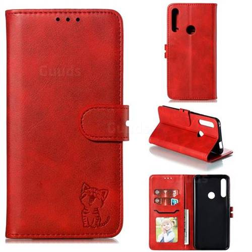 Embossing Happy Cat Leather Wallet Case for Huawei P Smart Z (2019) - Red