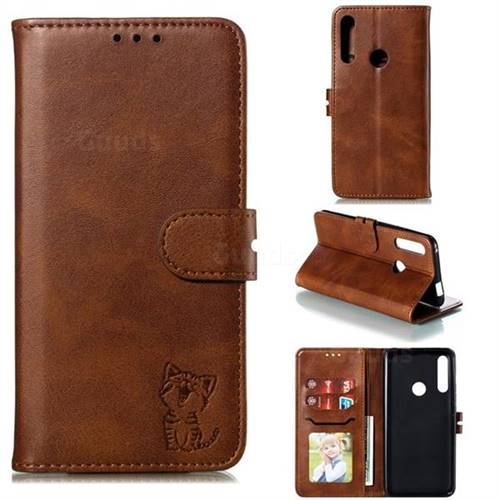 Embossing Happy Cat Leather Wallet Case for Huawei P Smart Z (2019) - Brown