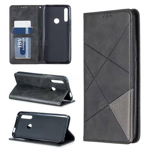 Prismatic Slim Magnetic Sucking Stitching Wallet Flip Cover for Huawei P Smart Z (2019) - Black