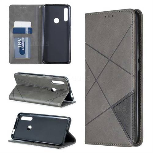 Prismatic Slim Magnetic Sucking Stitching Wallet Flip Cover for Huawei P Smart Z (2019) - Gray
