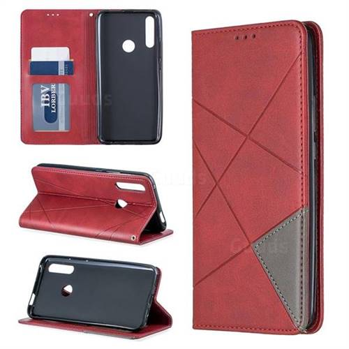 Prismatic Slim Magnetic Sucking Stitching Wallet Flip Cover for Huawei P Smart Z (2019) - Red