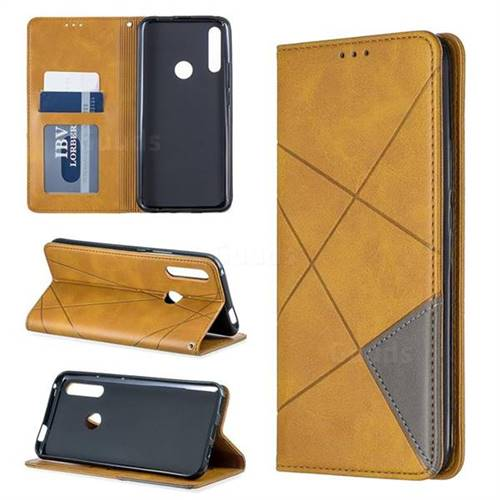Prismatic Slim Magnetic Sucking Stitching Wallet Flip Cover for Huawei P Smart Z (2019) - Yellow