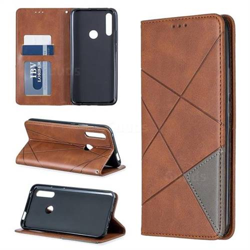 Prismatic Slim Magnetic Sucking Stitching Wallet Flip Cover for Huawei P Smart Z (2019) - Brown