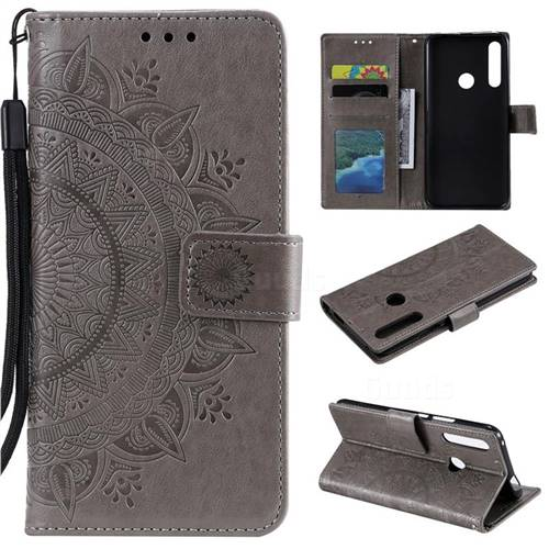 Intricate Embossing Datura Leather Wallet Case for Huawei P Smart Z (2019) - Gray