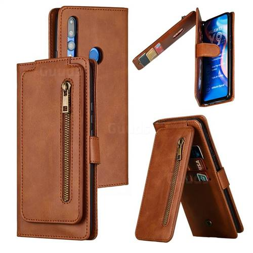 Multifunction 9 Cards Leather Zipper Wallet Phone Case for Huawei P Smart Z (2019) - Brown