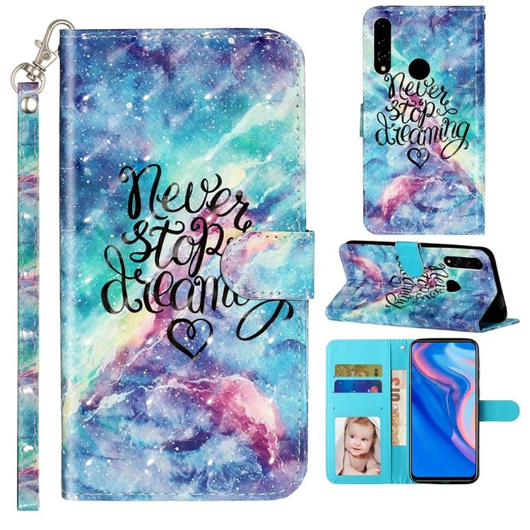 Blue Starry Sky 3D Leather Phone Holster Wallet Case for Huawei P Smart Z (2019)