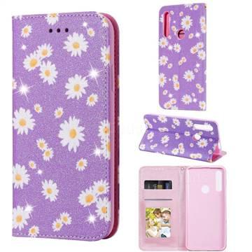 Ultra Slim Daisy Sparkle Glitter Powder Magnetic Leather Wallet Case for Huawei P Smart Z (2019) - Purple