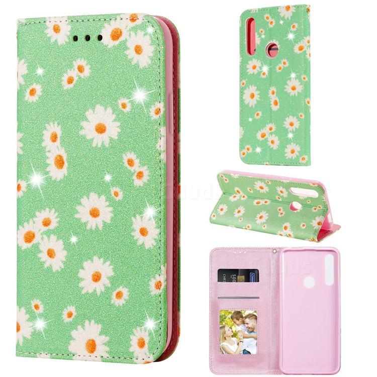 Ultra Slim Daisy Sparkle Glitter Powder Magnetic Leather Wallet Case for Huawei P Smart Z (2019) - Green