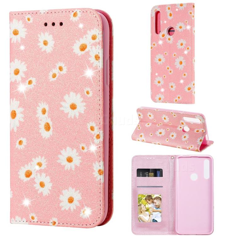 Ultra Slim Daisy Sparkle Glitter Powder Magnetic Leather Wallet Case for Huawei P Smart Z (2019) - Pink