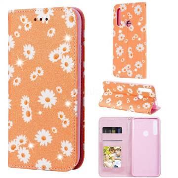 Ultra Slim Daisy Sparkle Glitter Powder Magnetic Leather Wallet Case for Huawei P Smart Z (2019) - Orange