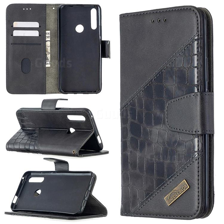 BinfenColor BF04 Color Block Stitching Crocodile Leather Case Cover for Huawei P Smart Z (2019) - Black