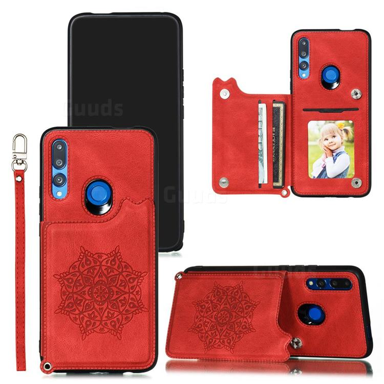 Luxury Mandala Multi-function Magnetic Card Slots Stand Leather Back Cover for Huawei P Smart Z (2019) - Red