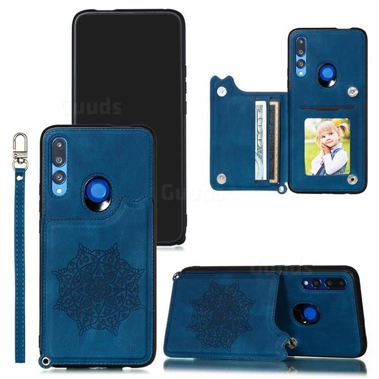 Luxury Mandala Multi-function Magnetic Card Slots Stand Leather Back Cover for Huawei P Smart Z (2019) - Blue
