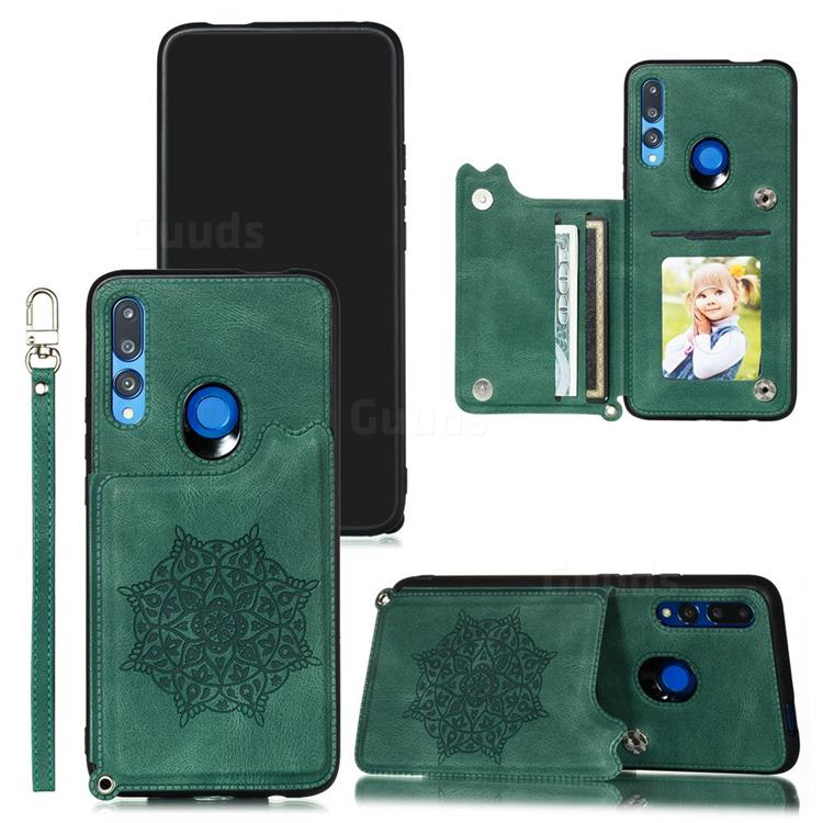 Luxury Mandala Multi-function Magnetic Card Slots Stand Leather Back Cover for Huawei P Smart Z (2019) - Green