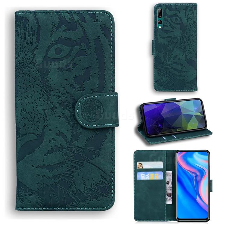Intricate Embossing Tiger Face Leather Wallet Case for Huawei P Smart Z (2019) - Green