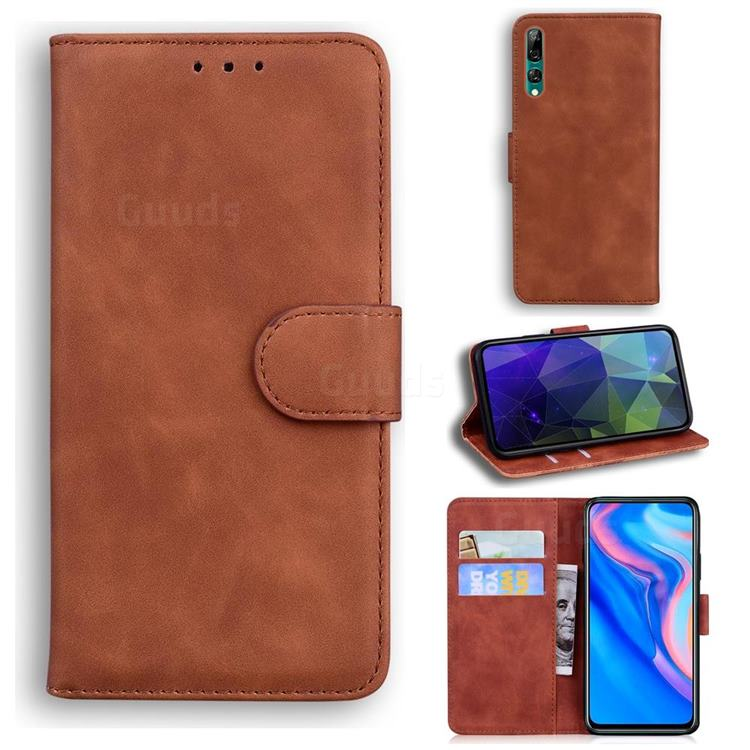 Retro Classic Skin Feel Leather Wallet Phone Case for Huawei P Smart Z (2019) - Brown