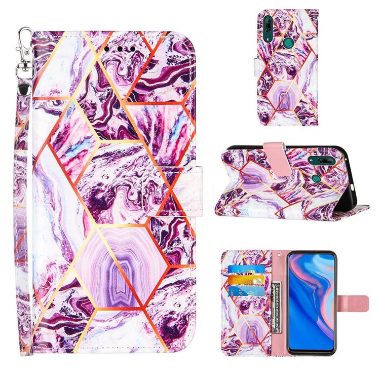 Dream Purple Stitching Color Marble Leather Wallet Case for Huawei P Smart Z (2019)