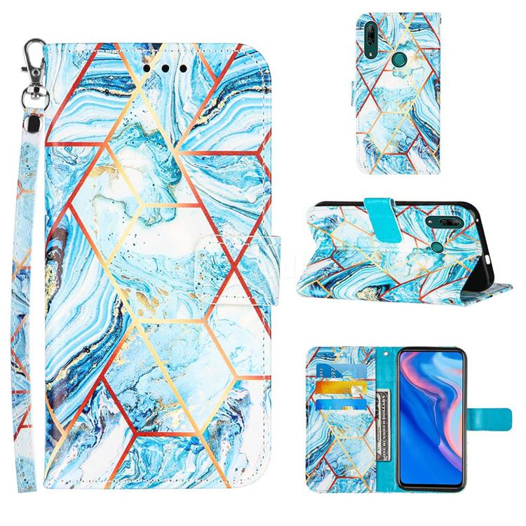Lake Blue Stitching Color Marble Leather Wallet Case for Huawei P Smart Z (2019)