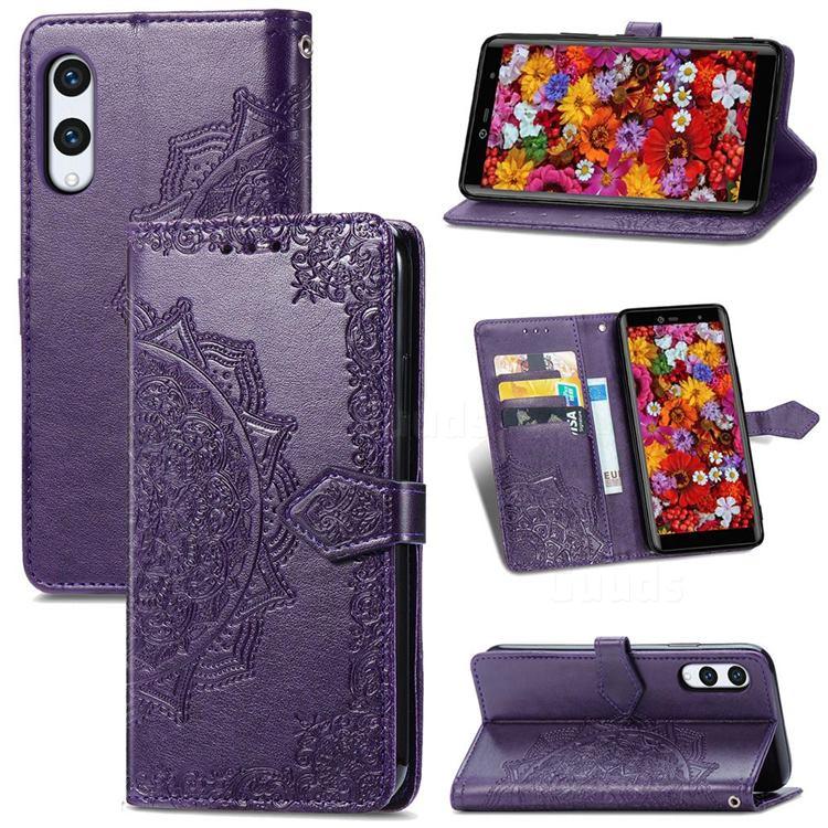 Embossing Imprint Mandala Flower Leather Wallet Case for Rakuten Hand - Purple