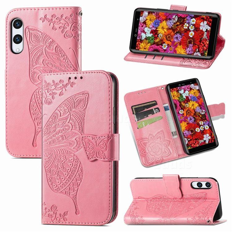 Embossing Mandala Flower Butterfly Leather Wallet Case for Rakuten Hand - Pink