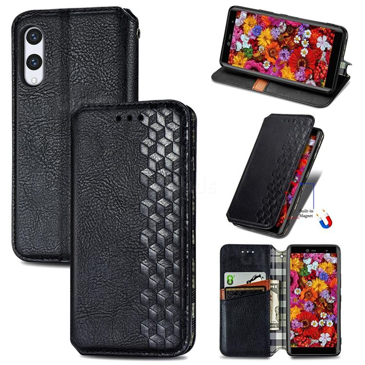 Ultra Slim Fashion Business Card Magnetic Automatic Suction Leather Flip Cover for Rakuten Hand - Black