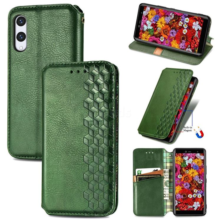 Ultra Slim Fashion Business Card Magnetic Automatic Suction Leather Flip Cover for Rakuten Hand - Green