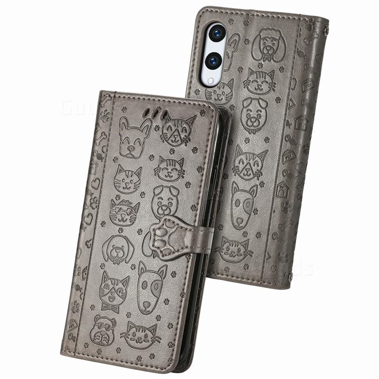 Embossing Dog Paw Kitten and Puppy Leather Wallet Case for Rakuten Hand - Gray
