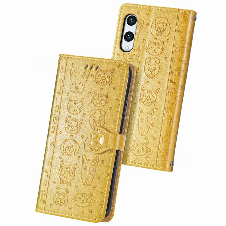 Embossing Dog Paw Kitten and Puppy Leather Wallet Case for Rakuten Hand - Yellow