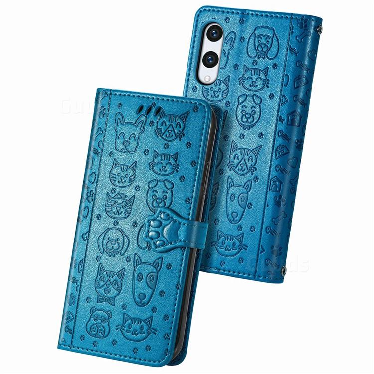 Embossing Dog Paw Kitten and Puppy Leather Wallet Case for Rakuten Hand - Blue