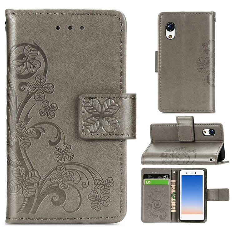 Embossing Imprint Four-Leaf Clover Leather Wallet Case for Rakuten Mini - Grey